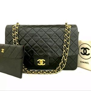 CHANEL Classic Leather Flap Gold Chain Bag+Wallet